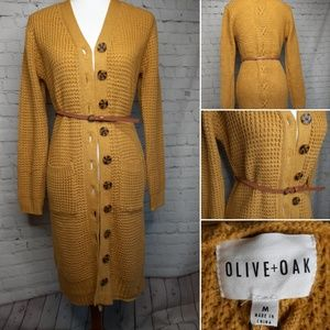 Olive & Oak mustard duster cardigan size M